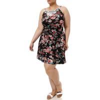 Vestido Curto Plus Size Feminino Preto