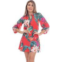 Vestido Clara Arruda Curto Decote Botão Feminino - Feminino-Vermelho