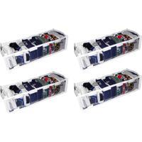 Kit Com 04 - Organizador De Gaveta Cristal 9 Nichos 14X10X38 - Organibox