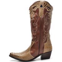 Bota Country Texana Click Calçados Montaria Couro Cano Longo Bico Fino Milho