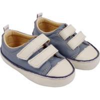 Tênis Infantil Couro Catz Calçados Noody Velcro - Unissex-Azul+Branco