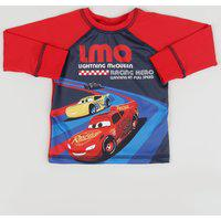 Camiseta De Praia Infantil Carros Manga Longa Raglan Gola Careca Vermelha