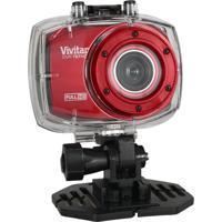Câmera Filmadora Vivitar De Ação Full Hd Com Caixa Estanque E Acessórios Vermelha