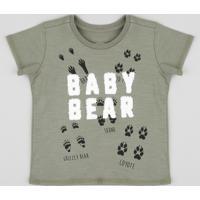 """Camiseta Infantil """"Baby Bear"""" Manga Curta Gola Careca Verde Militar"""