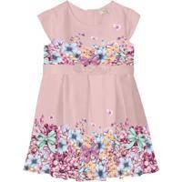 Vestido Floral Com Pregas - Rosa Claro & Lilás- Babytrick Nick