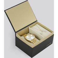 Kit De Relógio Analógico Lince Feminino + Colar + Brinco - Lrg4342L Kb42S2Kx Dourado