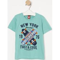 "Camiseta Skates ""New York""- Verde & Laranja- Gueda Kgueda Kids"