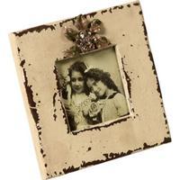 Porta-Retrato De Madeira Cristallo Decorativo Com Detalhe De Metal