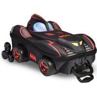 Mochila Escolar 3D Com Rodinhas E Lancheira Maxtoy Batman Chrome Weels Masculina - Masculino-Preto+Vermelho