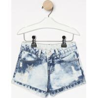 Short Jeans Estonado Com Puídos- Azul Clarogabriela Aquarela