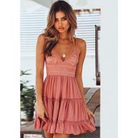 Vestido Rodado Jasmim Com Renda Feminino - Rosa