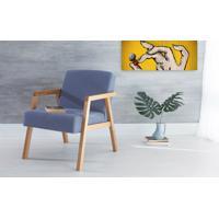 Poltrona Design De Madeira Estofada Com Braços Azul Claro Charlie - Verniz Amendoa \ Tec.930 - 60X74X84 Cm