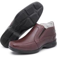 Sapato Conforto Couro Top Franca Shoes Masculino - Masculino-Café