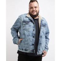 Jaqueta Jeans Masculina Plus Size Trucker Com PeloAzul Claro