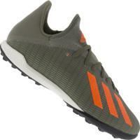Chuteira Society Adidas X 19.3 Tf - Adulto - Verde Esc/Laranja