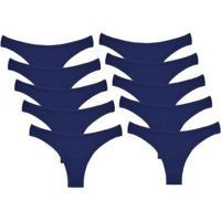 Kit Com 10 Calcinhas Conforto De Algodão Modelo Fio Dental - Feminino-Azul