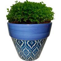Cachepot Urban Home De Cerâmica Azul Tile Cone N