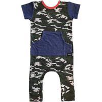 Macacão Infantil Canguru Comfy Camuflado - Unissex-Verde