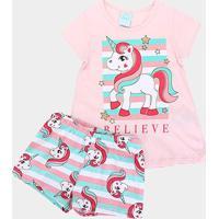 Pijama Infantil Kyly Brilha No Escuro Proteção Anti-Mosquito - Feminino-Rosa