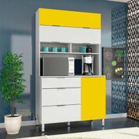 Armário De Cozinha Colúmbia 3 Pt Branco E Amarelo