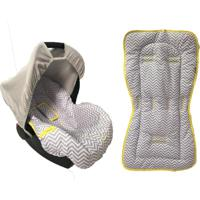 Conjunto Capa De Bebê Conforto E Capa De Carrinho Chevron Alan Pierre Baby 0 A 13 Kg Cinza/ Amarelo