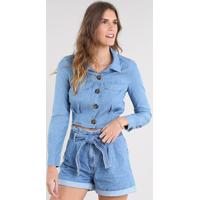 280d51ab4c CEA  Camisa Jeans Feminina Cropped Com Bolsos Manga Longa Azul Claro