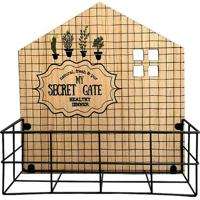Floreira Secret Gate- Bege & Preta- 26X26X8Cm- Ffull Fit