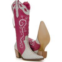 310430c0193 ... Bota Texana Couro Country Capelli Boots Jacaré Feminina - Feminino-Rosa