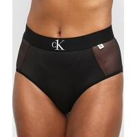 Calcinha Calvin Klein Hot Pant Tule Microfibra - Feminino-Preto