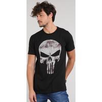 Camiseta Masculina Justiceiro Manga Curta Gola Careca Preta