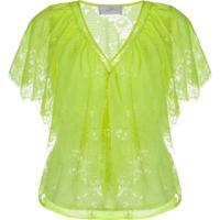 So Allure Blusa Gola V Com Renda Floral - Verde