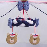 Móbile Menino Urso Marinheiro Branco/Marinho Grão De Gente Azul
