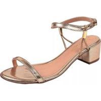 Sandália Rosa Chic Calçados Verniz Baixa Fivela Feminina - Feminino-Dourado