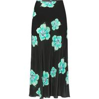 Rixo Kelly Floral Midi Slip Skirt - Preto
