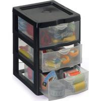 Caixa Organizadora Plástico Gaveteiro Multiuso Com 3 Gavetas