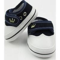 Tênis Bebê Masculino Azul Marinho Bordado Coroa Com Velcro -P - Masculino-Azul