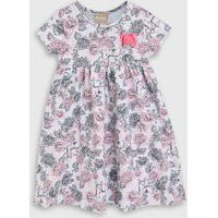 Vestido Milon Infantil Floral Cinza/Rosa