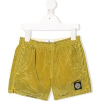 Stone Island Junior Short De Natação Com Efeito Amassado - Amarelo