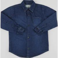Camisa Jeans Infantil Com Bolso Manga Longa Azul Escuro
