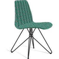 Cadeira Eames Base Aço Carbono Daf Verde/Cinza