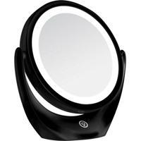 Espelho Com Aumento De 5X Redondo Dupla Face Leds Recarregável Bc1007 Preto