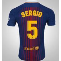 Camisa Do Barcelona I 17/18 Nº 5 Sergio Busquets - Masculina - Azul Escuro