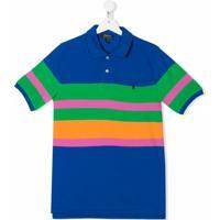 Ralph Lauren Kids Camisa Polo Com Listras - Azul