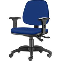 Cadeira Job Com Bracos Semi Curvados Assento Courino Azul Base Nylon Arcada - 54628 - Sun House