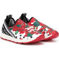 Dolce & Gabbana Kids Floral Slip On Sneakers - Branco