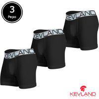 Cuecas Boxer Kevland - Kit Com 3 Peças Microfibra Preta Elástico Prata Preto