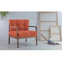 Poltrona Confortável Com Braços Canela Flocos - Verniz Capuccino Tec.918 Salmão 69X71X79 Cm