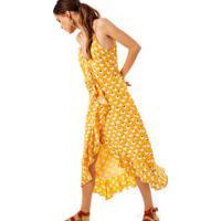 Vestido Seda Transp. Coroa De Frade Est Coroa De Frade Amarelo