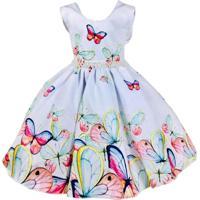 Vestido De Festa Infantil Giovanella Branco Com Borboletas