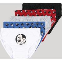Kit De 5 Cuecas Infantis Slip Mickey Multicor